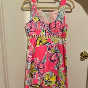 Lily Pulitzer Pink Floral Dress with Cutouts